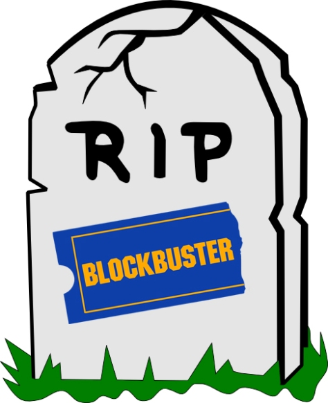Grave stone showing the 'Blockbuster' logo.