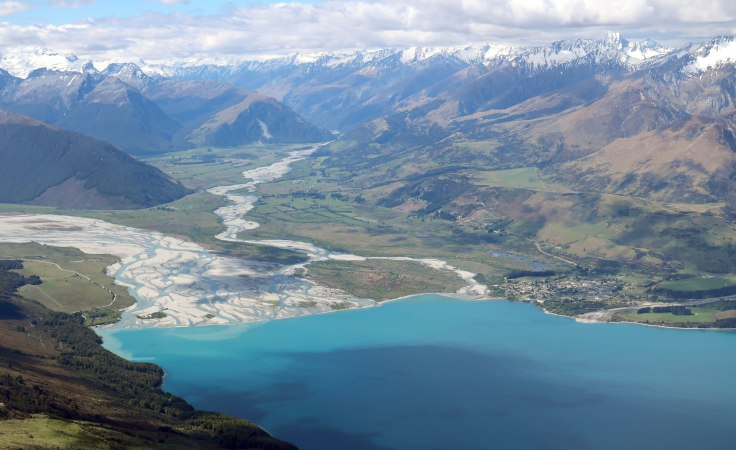 Aerial shot of Glenorchy in New Zeland.