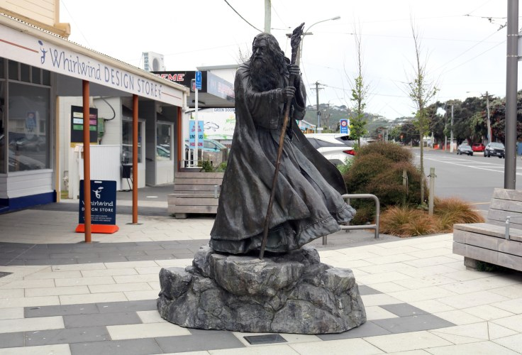 Statue of the Gandalf the Grey in New Zealand.